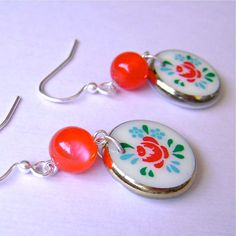 Red Rose Coin Disk Dangles by fiestykitty on Etsy, $12.00