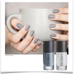 Show off your #mani during coffee time with #GOSH Nail Lacquer in Miss Grey & Matt Top Coat!  Exclusive to Edgars and Red Square.