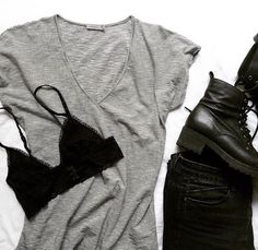 Stripes and black boots • Envious tee