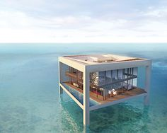 I think the floating house is in the best type of pool.the great blue sea. Amazing Architecture, Interior Architecture, Floating Architecture, Water Architecture, Interior Design, Future House, My House, Casa Patio, Casas Containers