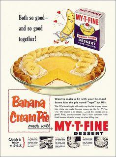 Vintage My-T-Fine Banana Cream Piec ad.