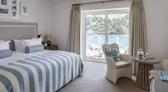 Accommodation - Salcombe Harbour Hotel & Spa, South Devon. The suites have beautiful views over the estuary. Plus there are 'balcony baskets', which come with binoculars, blanket and slippers. Cute.