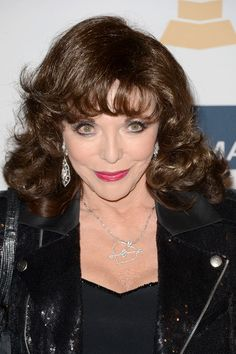 Joan Collins Medium Curls with Bangs - Joan Collins wore her signature brunette locks in bouncy curls a pre-Grammy event.