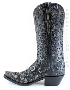 These women's Lucchese Cowboy Boots feature a Sierra black metallic leather with a black leather overlay, creating a glamorous visual effect! (Style: M4842)