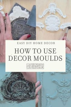 Learn the difference between mold and mould and how to use IOD moulds with air dry clay in all your DIY home decor, craft and food decorating projects. Diy Furniture Appliques, Plaster Crafts, Iron Orchid Designs, Arts And Crafts, Diy Crafts, Paperclay, Contemporary Home Decor, Air Dry Clay, Craft Materials