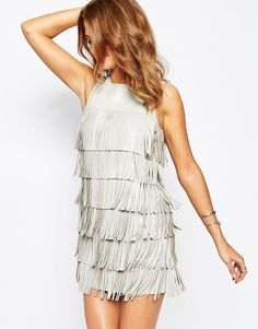 Image 3 of Millie Mackintosh Dress in Leather Look with Fringing