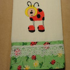 Lady Bug embroidered Linen Kitchen Tea Towel