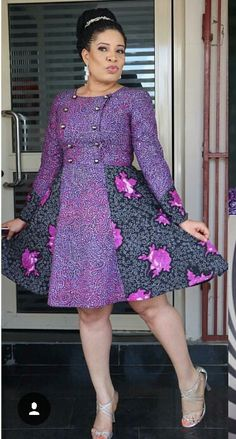 Monalisa Chinda- Nigerian A-list actress in plum Ankara dress African Inspired Fashion, Latest African Fashion Dresses, African Dresses For Women, African Print Dresses, African Print Fashion, Africa Fashion, African Attire, African Wear, African Women
