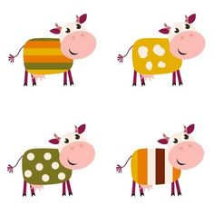 Illustration of Vector collection of four happy creative Cow characters - isolated on white. vector art, clipart and stock vectors. Sheep Illustration, New Year Illustration, Doodle Patterns, Color Patterns, Cow Clipart, New Year Designs, Photo Images, India Art, Cow Art