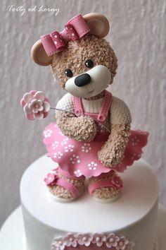 Little Teddy Bear. - cake by Lorna (Tutorial on CakesDecor) Fondant Cake Toppers, Fondant Cupcakes, Fondant Figures, Cupcake Cakes, Fondant Bow, 3d Cakes, Fondant Flowers, Fondant Teddy Bear, Teddy Bear Cakes