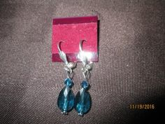 Swarovski Crystal Indicolite Teardrop Earrings  SW-E-17