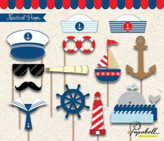 Nautical Props for Nautical Birthday Party. Perfect for a little sailor nautical photobooth. Instant Download #Birthday #NauticalBirthday #NauticalParty #PartyIdeas #BirthdayIdeas #4thofJuly #BirthdayParty