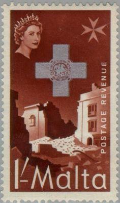 Sello: Bombed Buildings (Malta) (George Cross Commemoration 1957) Mi:MT 256,Sg:MT 285