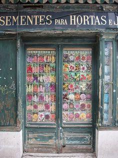 Doorway in Portugal Cool Doors, Unique Doors, Knobs And Knockers, Door Knobs, Boheme Boutique, When One Door Closes, Shop Fronts, Painted Doors, Closed Doors