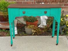 Shabby Chic Green Teal Desk Table