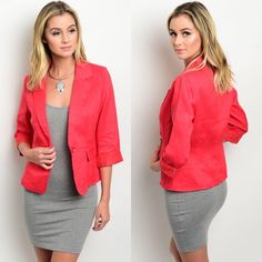 Red 3/4 Sleeve Blazer, Jacket New with tags. Whether for the office, or hanging out, this basic blazer is a closet essential. Features 3/4 sleeves and single button closure. Available in size S.                                                     100% cotton.                                                           PRICE IS FIRM UNLESS BUNDLED.                         ❌SORRY, NO TRADES. Boutique Jackets & Coats Blazers
