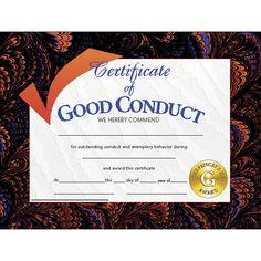 CERTIFICATES GOOD CONDUCT 30/PK