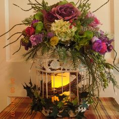 "Beautiful 16"" Floral Arrangement Birdcage/Light by 4Seasonsflorals on Etsy"