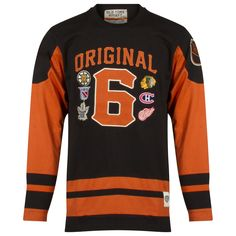 Chicago Blackhawks Men s Orange and Black Original 6 Striped Long Sleeve  Shirt by Old Time Hockey 9bc92dc15