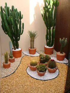 Jardim de inverno com cactus. Fotografia: http://www.decorfacil.com