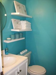 Nice design and color for a small bathroom.