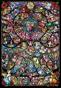 AmiAmi [Character & Hobby Shop] | Jigsaw Puzzle - Disney & Disney: Pixar Heroine Collection Stained Glass Pure White 1000pcs(Back-order)