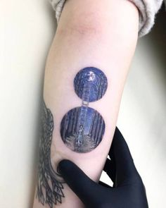 Best Tattoo inspiration 2017 - Surrealist moon ladder tattoo. Tattoo Artist: Eva krbdk