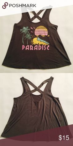"""Wildfox Inspired Paradise Tank Size Medium Wildfox/Chaser inspired grey tank with, """"paradise"""" quote and design and a criss-cross back. Perfect condition. Price reduced on Ⓜ️ercari. Wildfox Tops Tank Tops"""