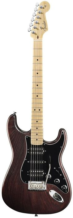 New, Fender American Standard Hand Stained Ash Stratocaster HSH Maple Fingerboard, Mahogany Stain