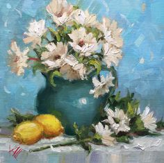 """Daisies and Lemons 8""""x8"""", original oil painting by Krista Eaton, wall, kitchen art, decor"""