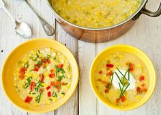 Crab and corn chowder, Corn chowder and Corn chowder with bacon on ...