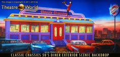 #TheatreWorldBackdrops#BACKDROPSFORGREASE #greasebackdrops #grease #Handpainted #greasescenicdesign  #youretheonethatiwant #beautyschooldropout   #burgerpalace #diner #50sdiner #classicdiner