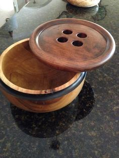 "SOLD - Camphor yarn bowl with black rim and walnut button lid. (No. 8, 9"" dia. x 6"" high), by Gary Broersma, GB Wood Specialties"