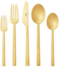 Cutipol Rondo Cutlery - Brushed Gold - Boxed Sets ($485) ❤ liked on Polyvore featuring home, kitchen & dining, flatware, dishes, kitchen, black silverware and black flatware