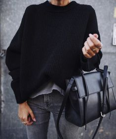"streetstyleplatform: """"Black Simple Sweater "" """