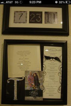 Wedding Gift Idea, basically a collage of all invitation cards/pics prior to the big day!