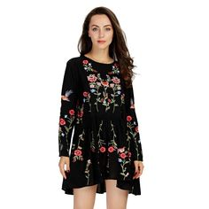 Vintage Floral Embroidered Black Dress #leaves #floral #flowers #vintage #dress #dresses #boutique #shopping #womens #thegreysboutique #blackdress #black #womensclothing #clothingstore #onlineshopping