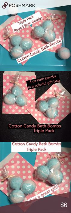 ⭐️Cotton Candy Bath Bombs Triple Pack⭐️ Cotton candy bath bombs triple pack. Set of 3 cotton candy scented bath bombs 3 oz each. Colors pretty pink swirled with sky blue packaged in a clear gift bag tied with a bow. Placed in a colorful parchment bag as shown. These are round ball shaped bath bombs. Size comparable to a golf ball but a bit bigger. Makes bath time fun! Drop in bath watch them fizz! This is for ONE triple pack set…