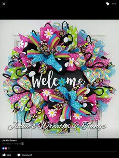 Whimsical welcome wreaths Summer Door Wreaths, Easter Wreaths, Holiday Wreaths, Spring Wreaths, Birthday Wreaths, Beach Wreaths, Holiday Decorations, Wreath Crafts, Diy Wreath