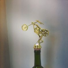 Motorcycle Wine Stopper www.etsy.com/shop/thedeorativecompany #wine #winestopper #winelover #trophywinestopper #harleygift #motorcycle #motorcycleriding #sturgus #bikeweek