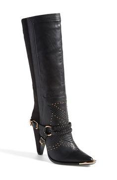 Ivy Kirzhner 'Stallion' Leather & Suede Harness Boot (Women) Black Size 9 M on Vein - getVein.com