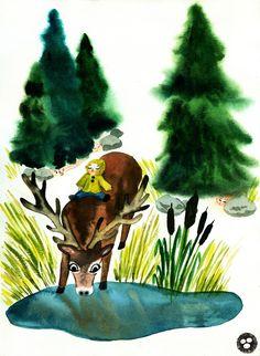 Smolíček Pacholíček, Czech fairy tale about a boy...   Sova Hůová Legends And Myths, Folklore, Pagan, Mythology, Fairy Tales, Deer, Creatures, Christmas Ornaments, Illustration