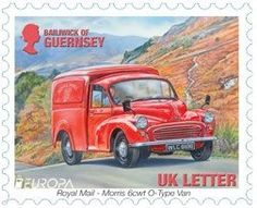 Royal Mail Morris mail van on stamps from Guernsey, Guernsey Island, Postman Pat, Van Car, Morris Minor, Bus Camper, Love Stamps, Royal Mail, Stamp Collecting, Mail Art