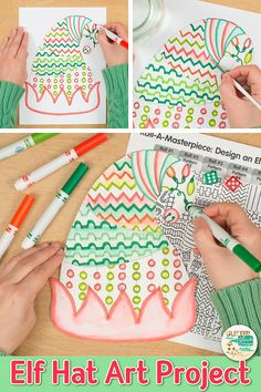 "your bulletin board with these holiday elf hats. Fill up your art sub plans folder with no-prep crafts for kids that pair well with other Christmas elf activities. Great for classroom teachers and homeschooling parents wanting to ""paint"" on a dime. Christmas Art For Kids, Christmas Art Projects, Winter Art Projects, Easy Art Projects, Christmas Drawing, Christmas Elf, Christmas Ideas, Christmas Ornaments, Art And Craft Videos"