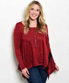 df52d720046 Women Sweater Size 1XL Red Marl Long Sleeves Tunic Asymmetrical JANETTE PLUS   JANETTEPLUS  Tunic