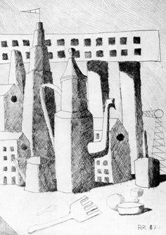 Variety drawing by Aldo Rossi City Drawing, Collage Drawing, Paper Architecture, Architecture Drawings, Classical Architecture, Aldo Rossi, Black And White Sketches, Principles Of Art, Ares