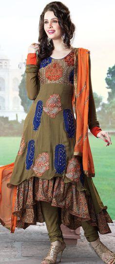 Brown Georgette #Designer #Salwar #Kameez