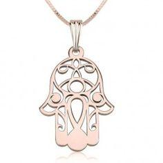Collar Hamsa en plata chapada en Oro Rosa