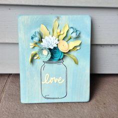 Felt Floral Mason Jar Wood Sign by BlueHouseDesignz on Etsy