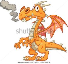 Orange cartoon dragon. Vector illustration with simple gradients. All in a single layer. by Memo Angeles, via Shutterstock